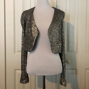 Silver Sequined Cropped Blazer - XS